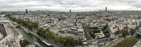 Paris, France - October 2, 2018. Aerial view of Paris with its typical buildings. Paris is a global center for art, fashion, gastronomy and culture.