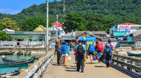 Kien Giang, Vietnam - Dec 10, 2017. Bridge of main pier on Tho Chau Island in Kien Giang, Vietnam. Tho Chau was first proposed to become a marine protected area in 1995.