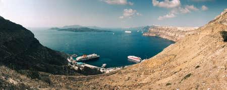 Santorini, Greece - Oct 10, 2018. Beautiful seascape on Santorini island, Greece. Summer landscape, turquoise sea and blue sky.