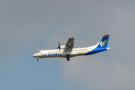 Bangkok, Thailand - Apr 21, 2018. RDPL-34174 Lao Airlines ATR 72-500 landing at Suvarnabhumi Airport (BKK). BKK is one of the biggest airports in Southeast Asia.