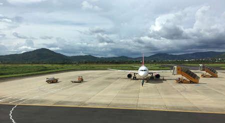 Dalat, Vietnam - Sep 15, 2018. Airbus A320 airplane of Vietjet Air docking at Lien Khuong Airport (DLI) in Dalat, Vietnam.