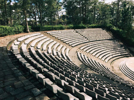 Dalat, Vietnam - Oct 5, 2018. The grandstands of a modern outdoor amphitheater, a stage for small entertaining events, performances, concerts or presentations. 新聞圖片