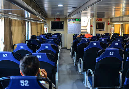 Phu Quoc, Vietnam - Dec 16, 2017. Interior of a modern high-speed ferry in Phu Quoc, Vietnam. Phu Quoc is a Vietnamese island off the coast of Cambodia in the Gulf of Thailand. 新聞圖片