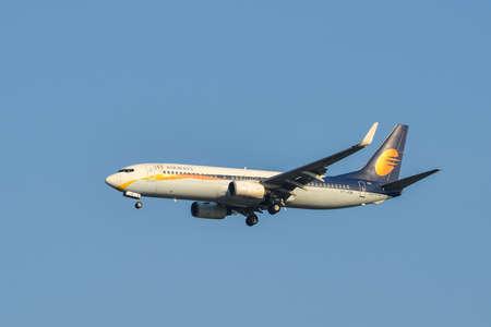 Bangkok, Thailand - Apr 21, 2018. VT-JGE Jet Airways Boeing 737-800 landing at Suvarnabhumi Airport (BKK). BKK is one of the biggest airports in Southeast Asia.
