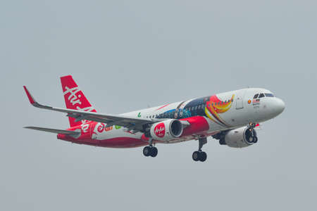 Saigon, Vietnam - May 11, 2019. 9M-AJD AirAsia Airbus A320 (Sarawak Livery) landing at Tan Son Nhat Airport (SGN).