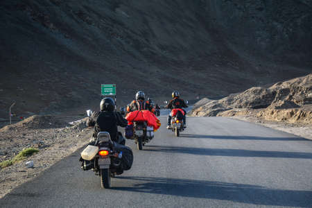 Ladakh, India - Jul 16, 2015. Mountain road of Ladakh, Northern India. Ladakh is the highest plateau in India with much of it being over 3,000 m.