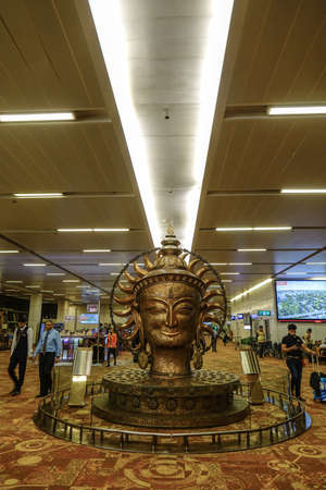 New Delhi, India - Oct 3, 2017. Interior of Indira Gandhi Airport (DEL) in New Delhi, India. It was the 12th busiest airport in the world by passenger traffic.