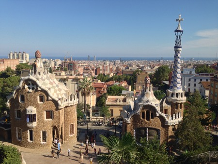 building structures: Typical building structures by Gaudi at Park Guell (Barcelona, Spain)