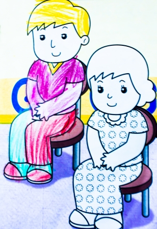 expectant: Cartoon drawing parents   Stock Photo