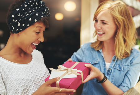 Pretty young blond woman giving an attractive young African American friend a surprise gift gift-wrapped with red paper, a bow and card Imagens