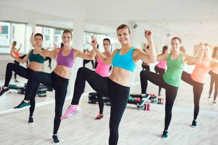 Large group of attractive toned fit young women enjoying an aerobics workout at the gym in a health and fitness concept