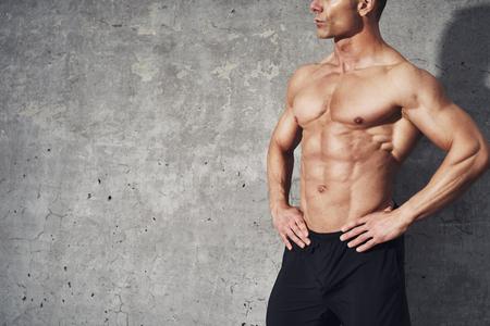 musculoso: la mitad del cuerpo Retrato de la aptitud paquete de seis sin camisa, el concepto de fitness, espacio para copyspace, cuerpo en forma y saludable masculino muscular con los músculos abdominales Foto de archivo