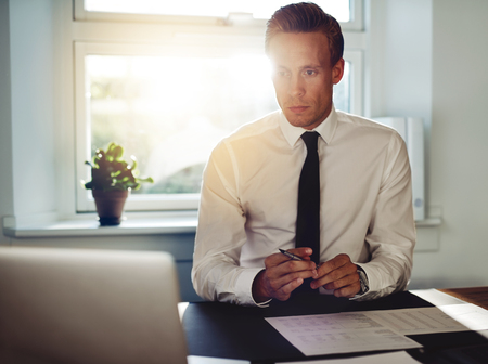 paralegal: Professional business man at office working at his desk, holding a pen and looking at his laptop Stock Photo