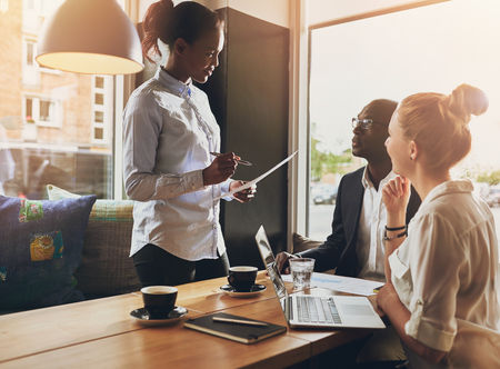 Business people at a meeting, small group, multi ethnic business, entrepreneur concept