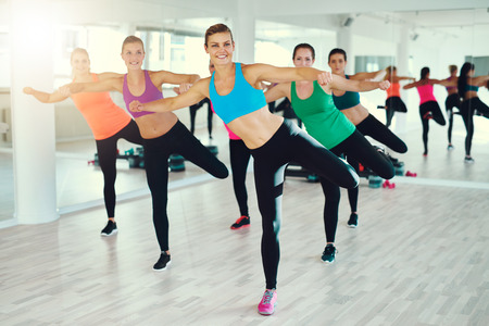 synchronously: Group of young women exercising synchronously in studio Stock Photo