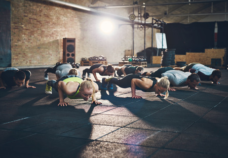Fit young people doing pushups in a gym looking focused Foto de archivo