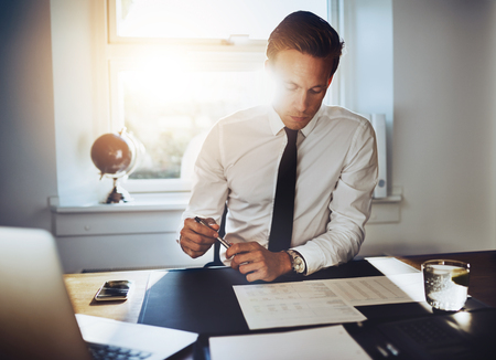 paralegal: Executive business man working at desk in a classic office while wearing a suit and tie