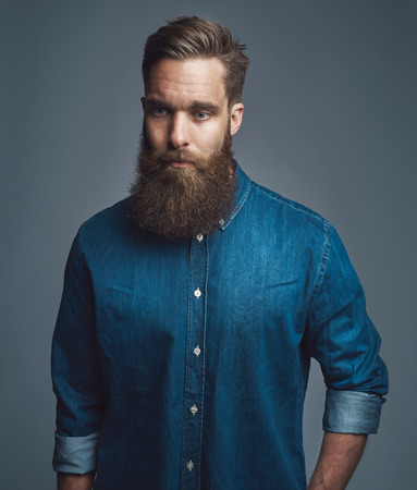 rolled up sleeves: Bearded man in blue denim shirt with rolled up sleeves and serious expression over gray background