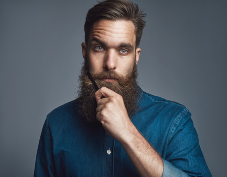 quizzical: Single serious young European adult male in blue denim buttoned shirt holding his beard with blank stare over gray background