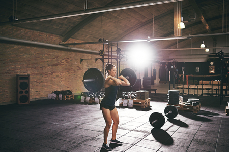 Fit woman doing workout with barbell. Horizontal indoors shot Stok Fotoğraf