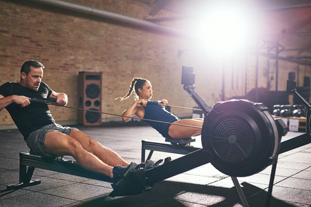 machines: Two young sportsmen training on rowing machines in light spacious gym. Stock Photo