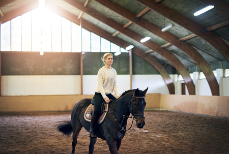 Blonde?female practicing trotting with?dark horse in indoor riding hall.