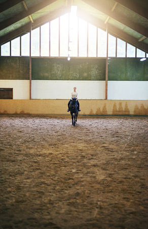 Blonde female sitting astride on dark horse in indoor paddock. Stock Photo