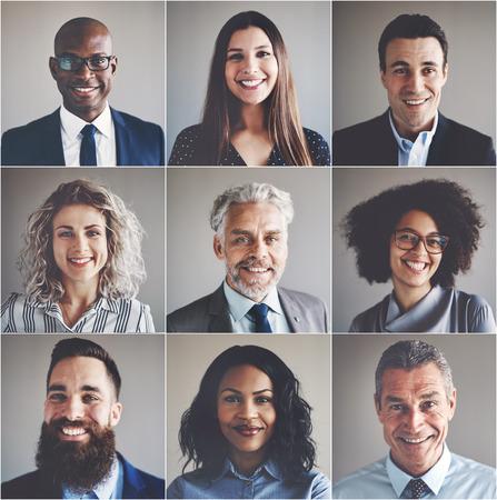 Collage de portraits d'un groupe ethniquement diversifié et mixte d'hommes d'affaires et de femmes d'affaires Banque d'images - 83523292