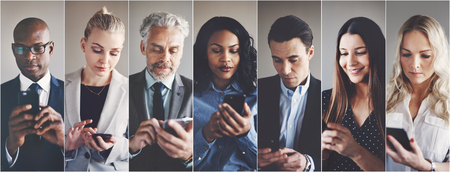 Collage of an ethnically diverse group of businessmen and businesswomen reading and sending text messages on cellphones Standard-Bild