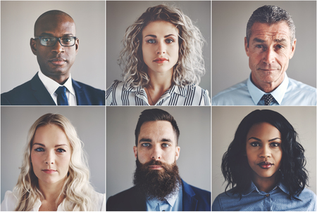 Collage of portraits of an ethnically diverse and mixed age group of focused businessmen and businesswomen