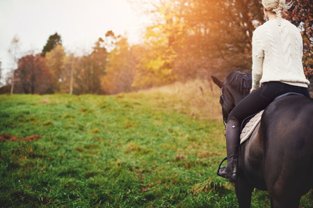 Young woman in riding gear sitting in a saddle on a chestnut horse horse while out for ride in the countryside in autumn Archivio Fotografico