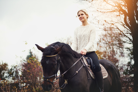 Smiling young woman in riding gear sitting atop her chestnut horse alone in a field in autumn