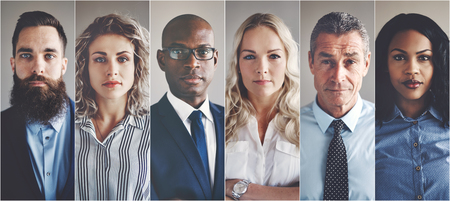 Collage of portraits of an ethnically diverse and mixed age group of focused business professionals Imagens - 87426492