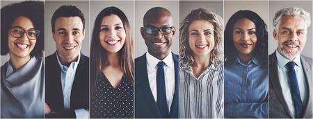 Collage de portraits d'un groupe d'âge constitué de professionnels des affaires très diversifiés sur le plan ethnique Banque d'images - 87426525