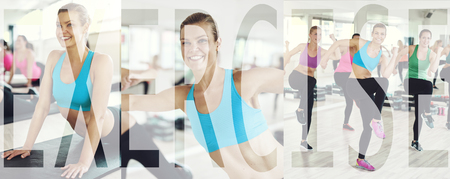 Collage of a group of young woman in sportswear working out during a gym class with an overlay of the word exercise