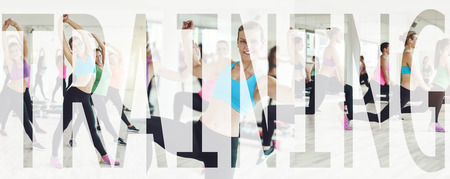 Collage of a group of fit young women in sportswear working out together in a gym class with an overlay of the word training Stock Photo