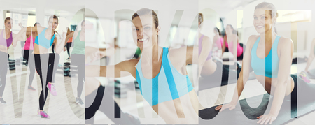 Collage of a fit young woman in sportswear smiling while exercising with others during a gym class with an overlay of the word workout