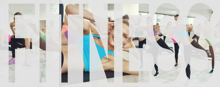 Collage of a group of fit young women in sportswear working out together in a health club class with an overlay of the word fitness