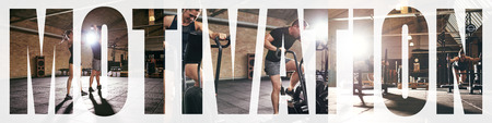 Collage of two fit young people in sportswear working out together with different gym equipment with an overlay of the word motivation