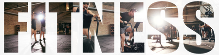 Collage of two fit young people in sportswear working out together with different gym equipment with an overlay of the word fitness