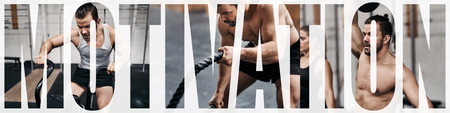 Collage of a fit young man working out with equipment in a gym with an overlay of the word motivation