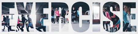 Collage of a diverse group of fit young people in sportswear running around a gym with an overlay of the word exercise