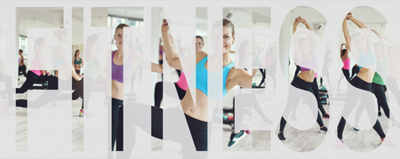 Collage of a group of fit young women in sportswear working out together in a gym class with an overlay of the word fitness
