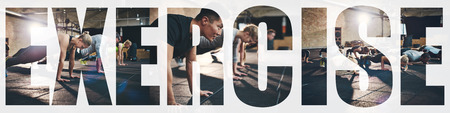 Collage of a group of fit young people doing push ups together on the floor of a gym with an overlay of the word exercise