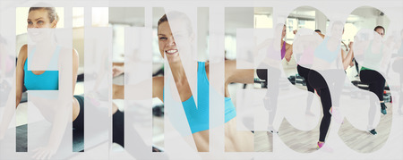 Collage of a fit young woman in sportswear working out with others during a gym class with an overlay of the word fitness