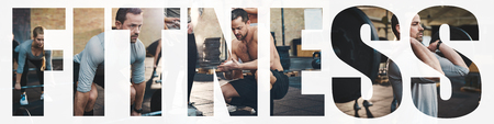 Collage of a fit man in sportswear lifting weights during a training session at the gym with an overlay of the word fitness