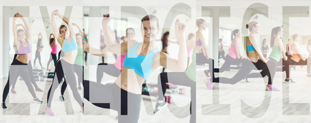 Collage of a group of fit young women in sportswear working out together in a gym class with an overlay of the word exercise