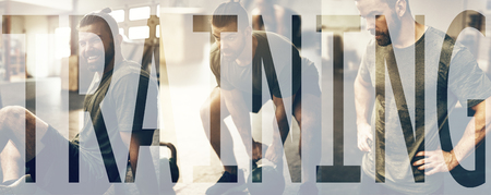 Collage of a fit young man in sportswear working out at the gym with an overlay of the word training