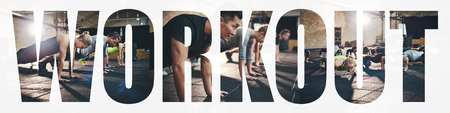 Collage of a group of fit young people doing pushups together on the floor of a gym with an overlay of the word workout