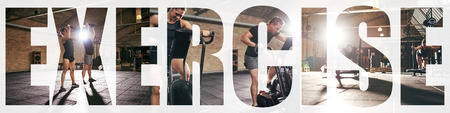 Collage of two fit young people in sportswear working out together with different gym equipment with an overlay of the word exercise Stock Photo